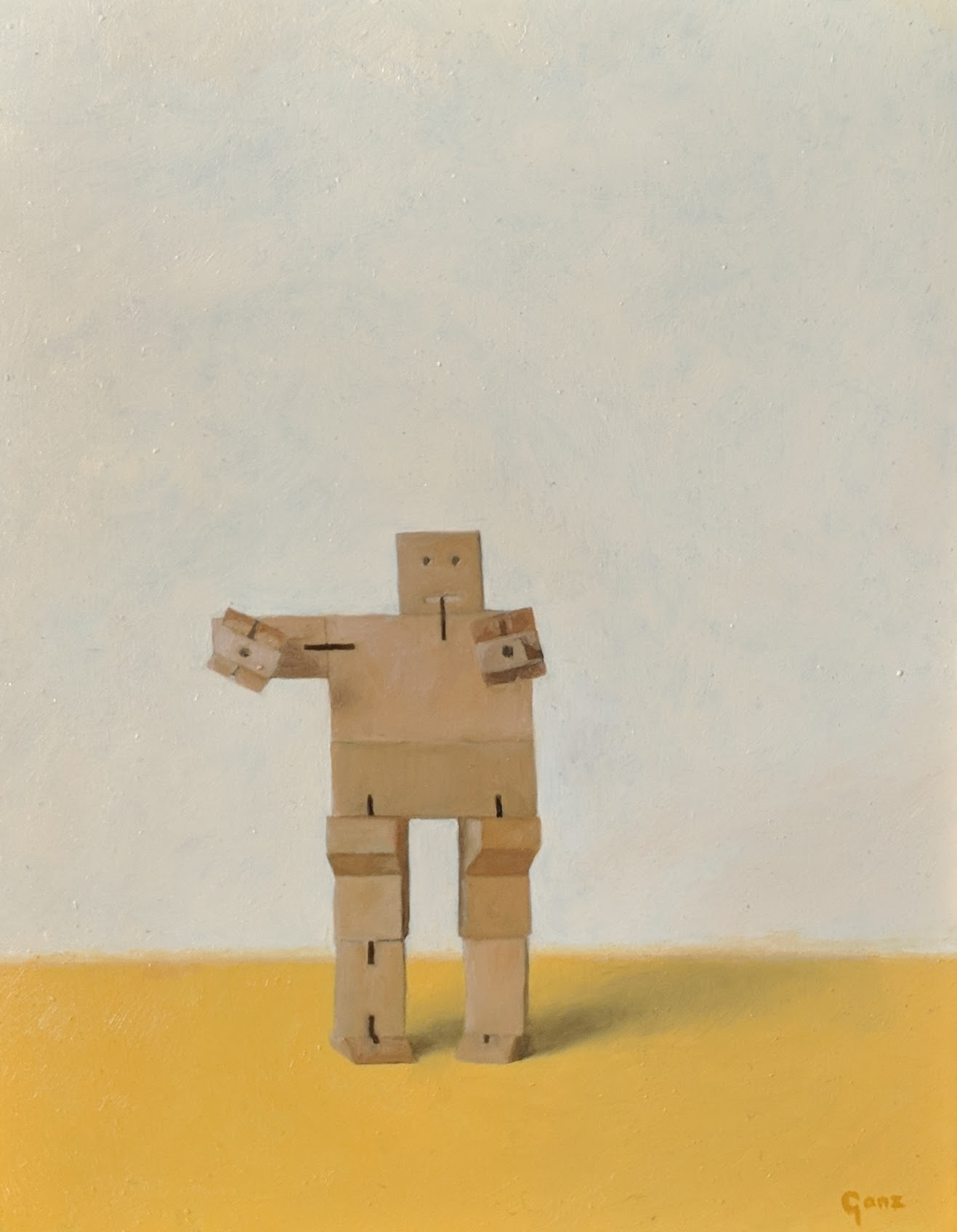 Cubebot, oil on panel