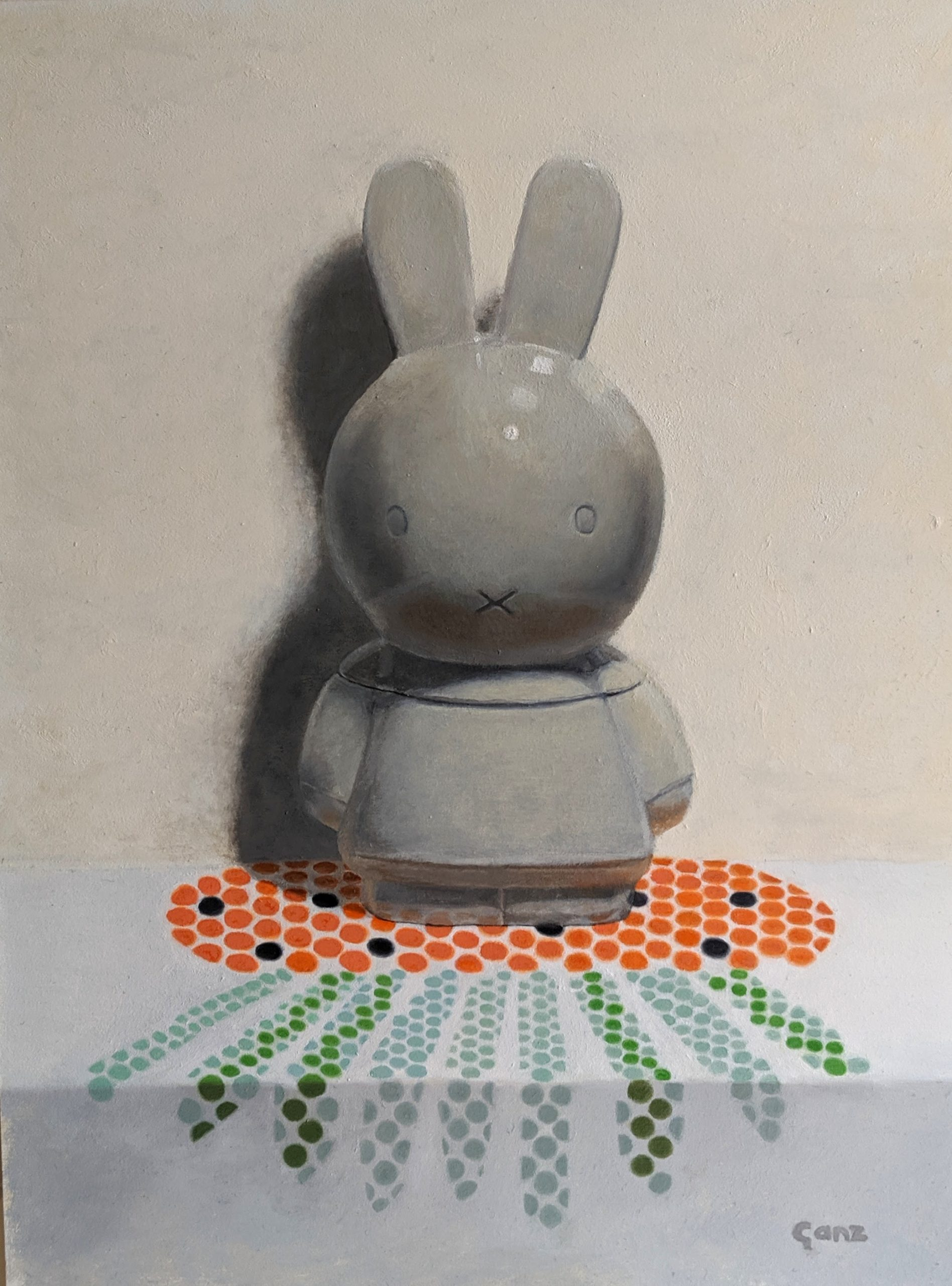 Bunny Jar, oil on panel